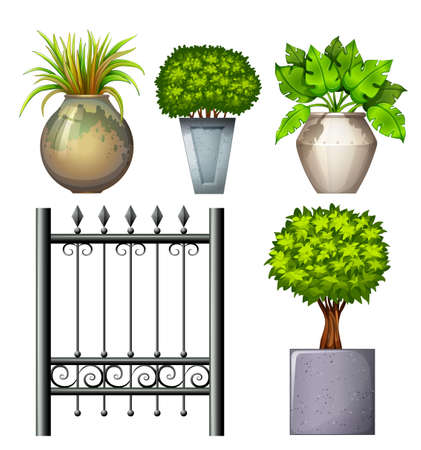 panelling: Illustration of a steel gate and potted plants on a white background Illustration