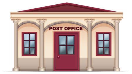 postmaster: Illustration of a post office on a white background Illustration