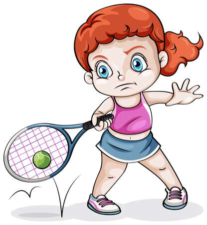 Illustration of a Caucasian girl playing tennis on a white background Vector