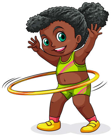 hulahoop: Illustration of a young black girl playing with the hulahoop on a white background Illustration