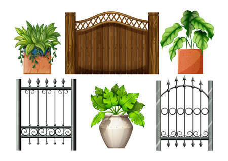 Illustration of the fences and plants on a white background Vector
