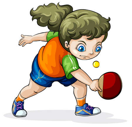 teammate: Illustration of a Caucasian girl playing table tennis on a white background