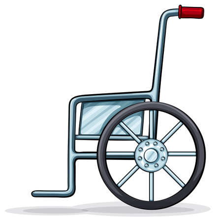 rear wheel: Illustration of a wheelchair on a white background Illustration