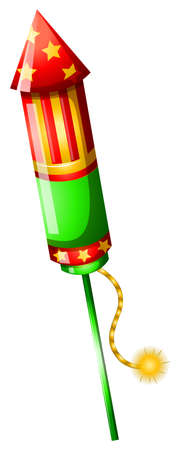 banger: Illustration of a colorful firecracker on a white background