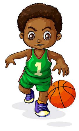 buiten sporten: Illustratie van een jonge zwarte jongen spelen basketbal op een witte achtergrond