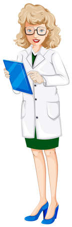 Illustration of a female doctor with a chart on a white background Stock Vector - 25592710
