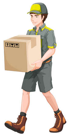 Illustration of a delivery man with a big box on a white background Illustration