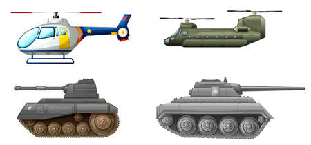 Illustration of the transportation equipments at the battlefield on a white background Vector