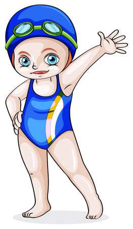 enfant maillot de bain: Illustration d'une jeune fille de race blanche de natation sur un fond blanc
