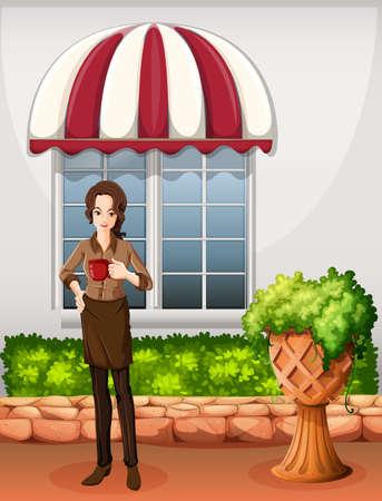 barista: Illustration of a female barista outside the bar Illustration