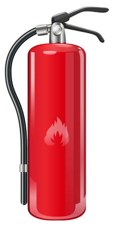 cylindrical: Illustration of a fire extinguisher on a white background Illustration