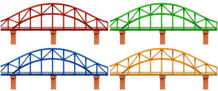 viaducts: Illustration of the four colorful bridges on a white background Illustration