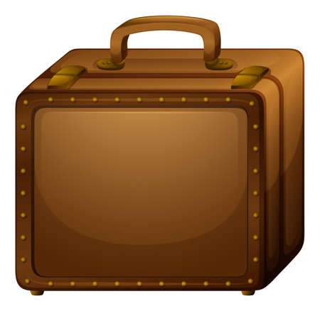 belongings: Illustration of a brown baggage on a white background Illustration