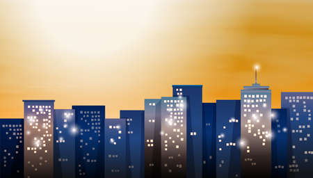Illustration of a view of the bright city Stock Vector - 25802853