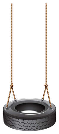 swing: Illustration of a tire swing with a rope on a white background