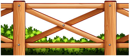 Illustration of a wooden fence design with plants at the back on a white background Illustration