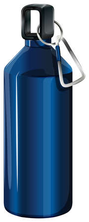 hot water bottle: Illustration of a blue bottle with a keychain on a white background Illustration