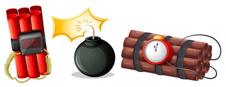 mines: Illustration of the explosive bombs on a white background Illustration