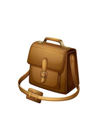 shoulder bag: Illustration of a brown shoulder bag on a white