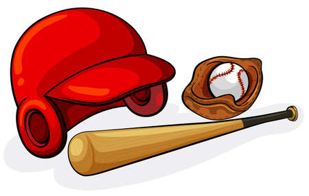 Illustration of the baseball equipments on a white  Vector