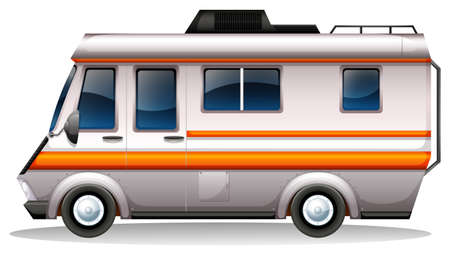 motor vehicle: Illustration of a big bus for transportation on a white