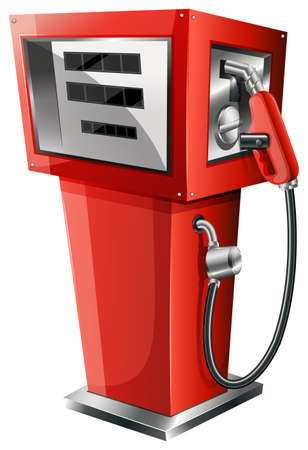 Illustration of a red petrol pump on a white  Vector