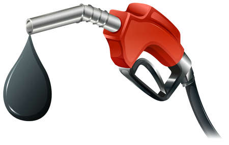 Illustration of a gray and red colored fuel pump on a white  Vector