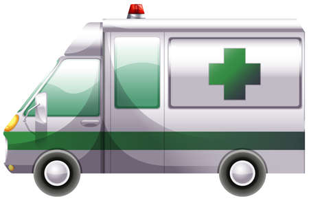 transporting: Illustration of a hospital ambulance on a white