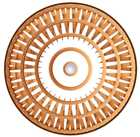 Illustration of a shield wheel on a white  Vector
