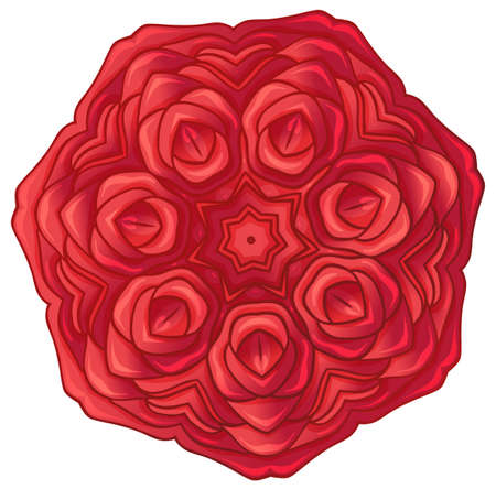 rosoideae: Illustration of a red rose on a white background Illustration