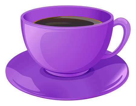 Illustration of a violet cup with coffee on a white background