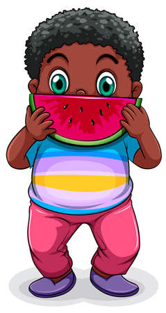 refreshed: Illustration of a Black fat man eating watermelon on a white background