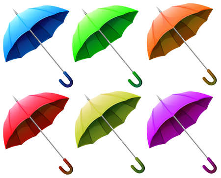 handheld device: Illustration of a group of umbrellas on a white background Illustration