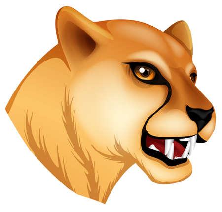 puma: Illustrazione di una testa di una pantera su uno sfondo bianco