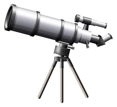 fernrohr: Illustration eines Teleskops auf einem weißen Hintergrund