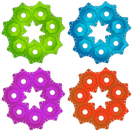 transmit: Illustration of the colorful cogwheels on a white background