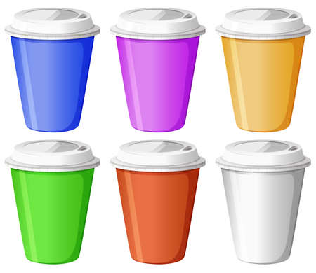 Illustration of the six colorful disposable cups on a white background Vector