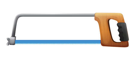 back and forth: Illustration of a cutting saw on a white background Illustration
