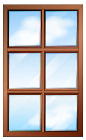 opened eye: Illustration of a wooden window with glasspanes on a white background