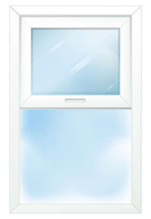 opened eye: Illustration of a door with a window on a white background