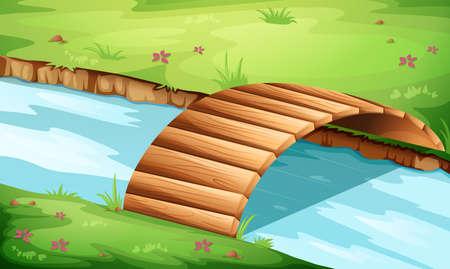 Ilustración de un puente de madera en el río