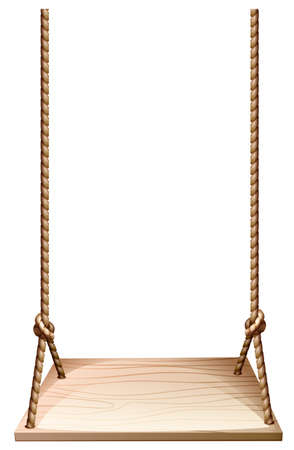 Illustration of a wooden swing on a white background