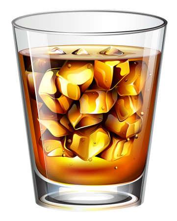 distilled: Illustrazione di un bicchiere di una bevanda spiritosa distillato su uno sfondo bianco