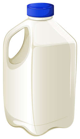 milk jugs: Illustration of a bottle of milk on a white background Illustration