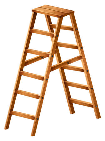 Illustration of a wooden ladder on a white background