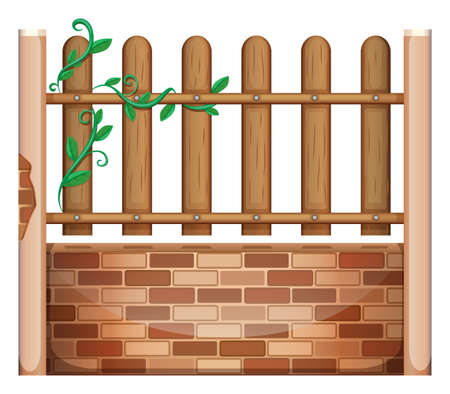 panelling: Illustration of a fence made of bricks and woods on a white background Illustration