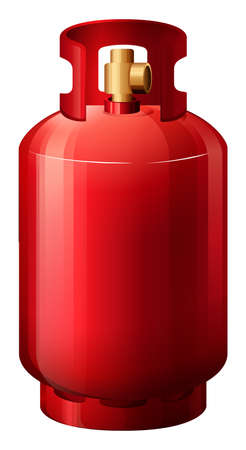 Illustration of a red gas cylinder on a white background