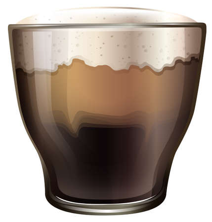 cold coffee: Illustration of a glass of cold coffee on a white background