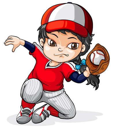 白い背景の上の女性アジア野球選手のイラスト
