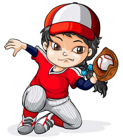 Illustration of a female Asian baseball player on a white background